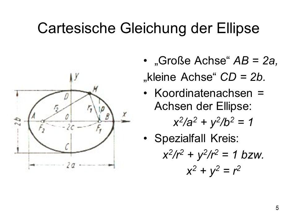 5 Cartesische Gleichung der Ellipse Große Achse AB = 2a, kleine Achse CD = 2b. Koordinatenachsen = Achsen der Ellipse: x 2 /a 2 + y 2 /b 2 = 1 Spezial