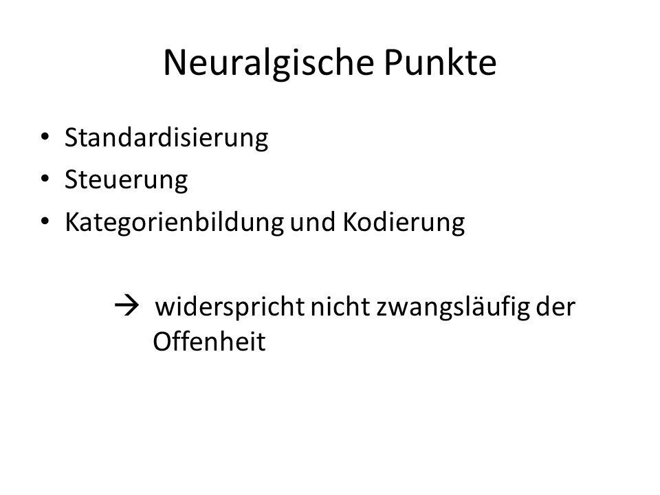 Neuralgische Punkte Standardisierung Steuerung Kategorienbildung und Kodierung widerspricht nicht zwangsläufig der Offenheit