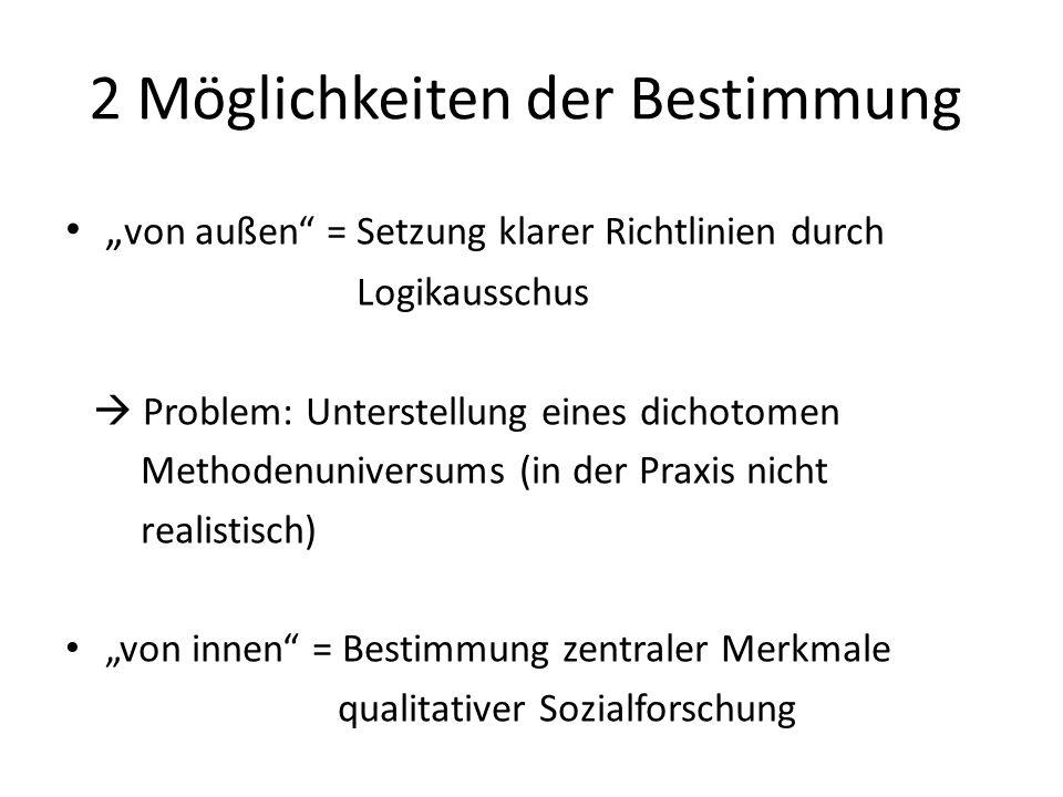 Typische und konstitutive Merkmale qualitativer Sozialforschung Offenheit, Dummheit als Methode (Ronald Hitzler) Datenauswertung durch sinnverstehende und sinnrekonstruierende Verfahren Nicht quantifizierend