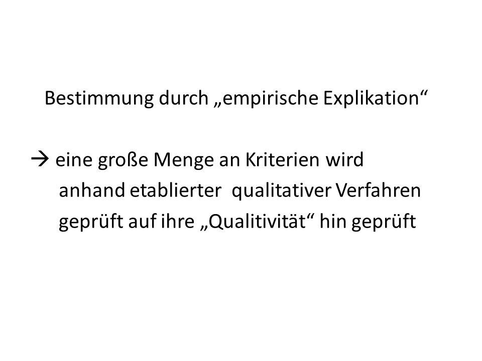 Bestimmung durch empirische Explikation eine große Menge an Kriterien wird anhand etablierter qualitativer Verfahren geprüft auf ihre Qualitivität hin