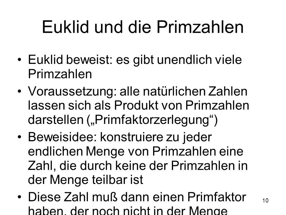 10 Euklid und die Primzahlen Euklid beweist: es gibt unendlich viele Primzahlen Voraussetzung: alle natürlichen Zahlen lassen sich als Produkt von Pri