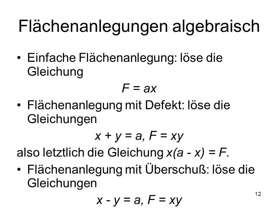 12 Flächenanlegungen algebraisch Einfache Flächenanlegung: löse die Gleichung F = ax Flächenanlegung mit Defekt: löse die Gleichungen x + y = a, F = x