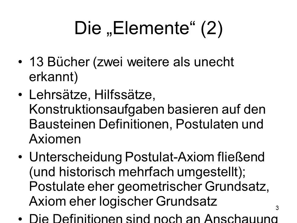 3 Die Elemente (2) 13 Bücher (zwei weitere als unecht erkannt) Lehrsätze, Hilfssätze, Konstruktionsaufgaben basieren auf den Bausteinen Definitionen,