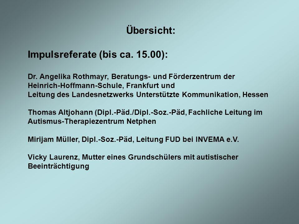 Übersicht: Impulsreferate (bis ca. 15.00): Dr. Angelika Rothmayr, Beratungs- und Förderzentrum der Heinrich-Hoffmann-Schule, Frankfurt und Leitung des