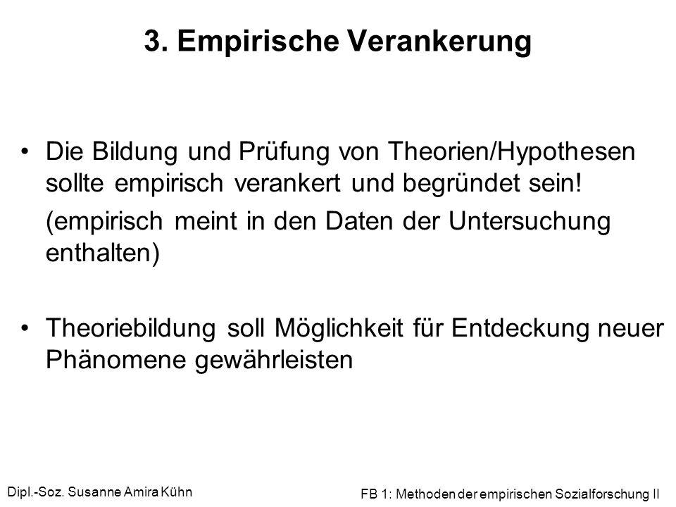Dipl.-Soz. Susanne Amira Kühn FB 1: Methoden der empirischen Sozialforschung II 3. Empirische Verankerung Die Bildung und Prüfung von Theorien/Hypothe