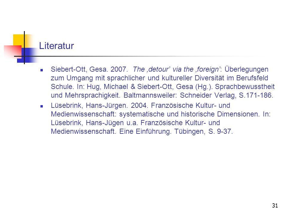 31 Literatur Siebert-Ott, Gesa. 2007. The detour via the foreign: Überlegungen zum Umgang mit sprachlicher und kultureller Diversität im Berufsfeld Sc