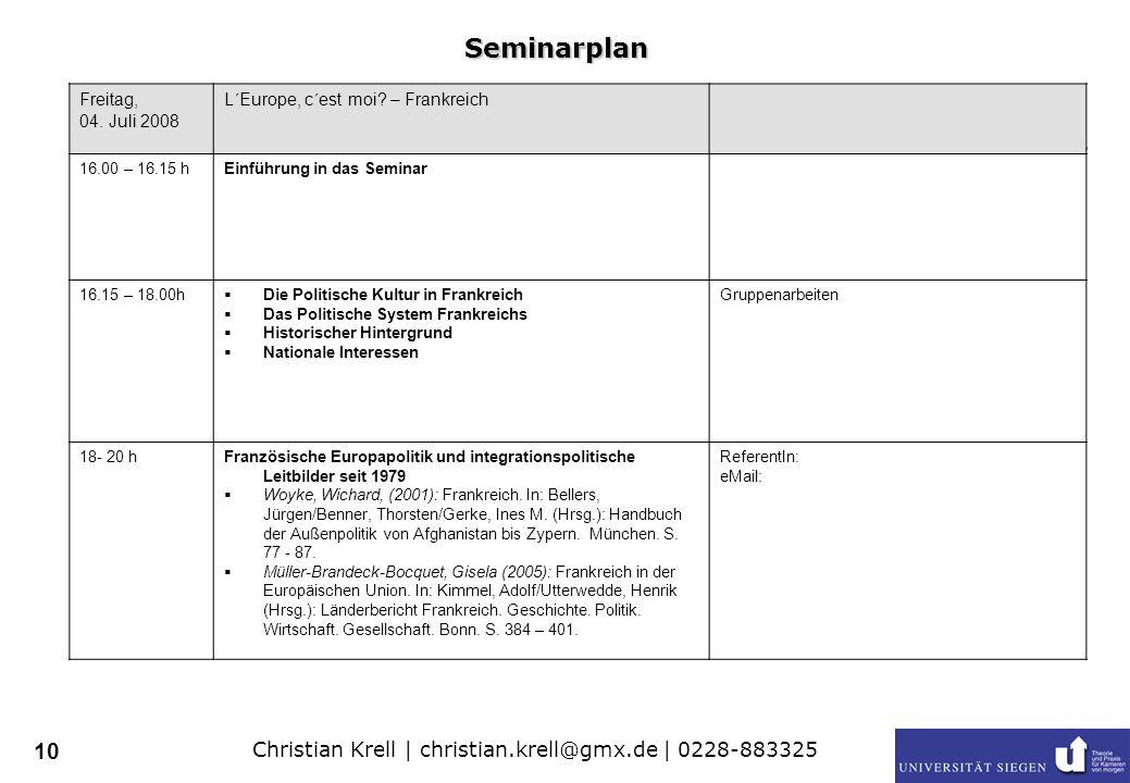 Christian Krell | christian.krell@gmx.de | 0228-883325 10 Freitag, 04.