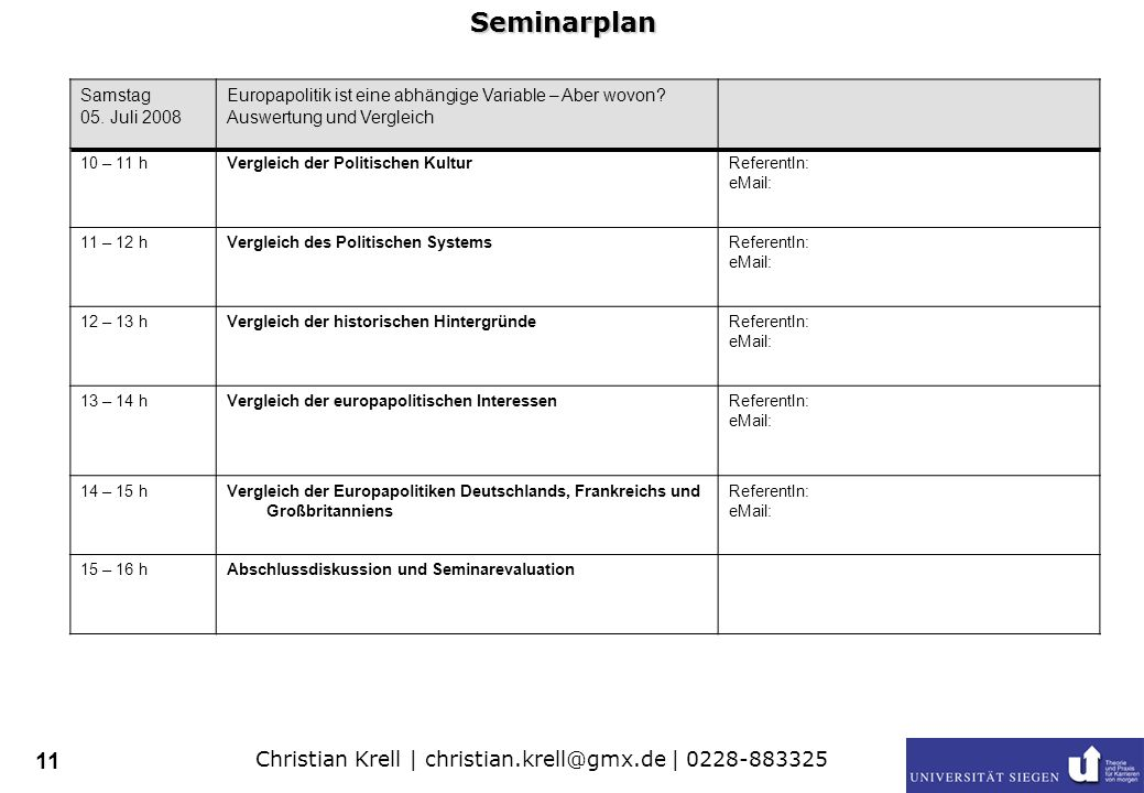 Christian Krell | christian.krell@gmx.de | 0228-883325 11 Samstag 05.