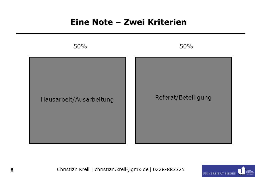 Christian Krell | christian.krell@gmx.de | 0228-883325 7 Möglichkeiten des Leistungserwerbs und Anforderungen 4 - 5 KP 2 KP Teilnahme Referat (ca.