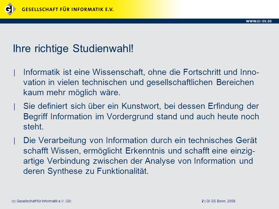 2 | GI GS Bonn, 2008(c) Gesellschaft für Informatik e.V.