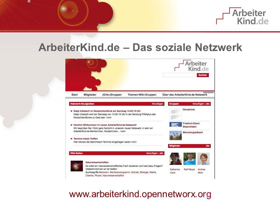 ArbeiterKind.de – Das soziale Netzwerk www.arbeiterkind.opennetworx.org