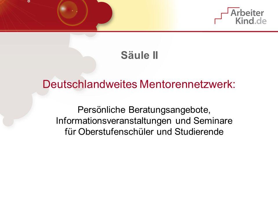 Säule II Deutschlandweites Mentorennetzwerk: Persönliche Beratungsangebote, Informationsveranstaltungen und Seminare für Oberstufenschüler und Studier