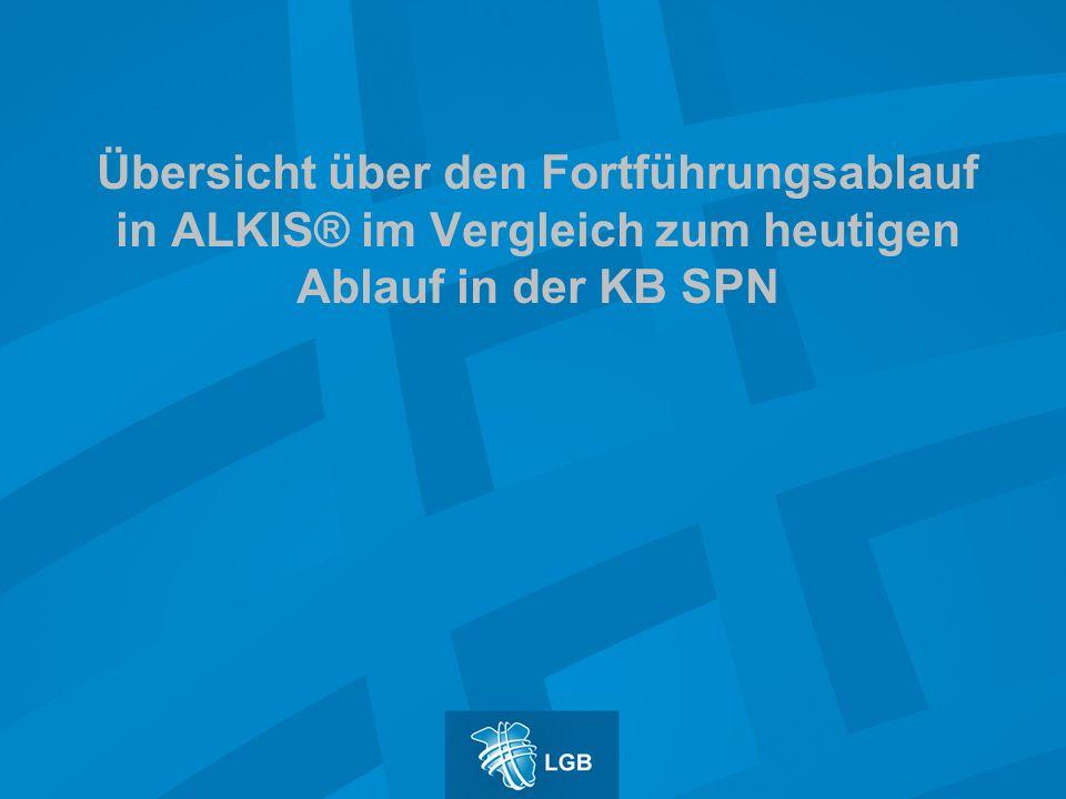 Übersicht über den Fortführungsablauf in ALKIS® im Vergleich zum heutigen Ablauf in der KB SPN
