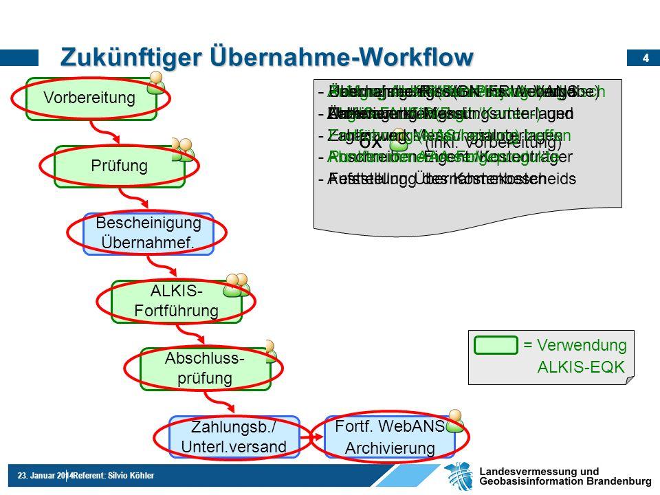 4 23. Januar 2014Referent: Silvio Köhler Zukünftiger Übernahme-Workflow Bescheinigung Übernahmef. Zahlungsb./ Unterl.versand = Verwendung ALKIS-EQK -