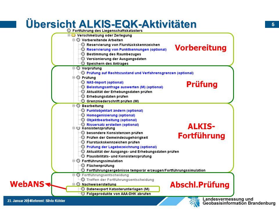 5 23. Januar 2014Referent: Silvio Köhler Übersicht ALKIS-EQK-Aktivitäten Vorbereitung Prüfung ALKIS- Fortführung Abschl.Prüfung WebANS