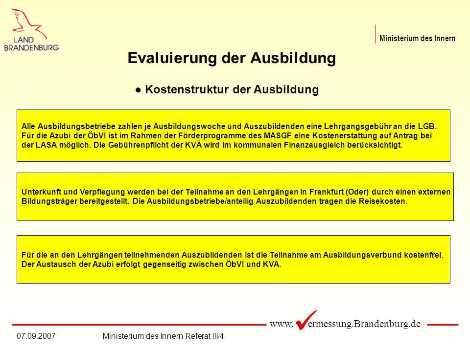 www. ermessung.Brandenburg.de Ministerium des Innern 07.09.2007Ministerium des Innern Referat III/4 Evaluierung der Ausbildung Kostenstruktur der Ausb