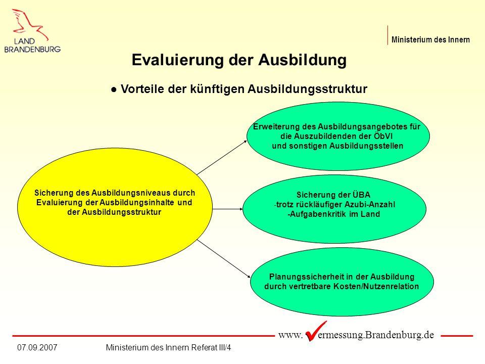 www. ermessung.Brandenburg.de Ministerium des Innern 07.09.2007Ministerium des Innern Referat III/4 Evaluierung der Ausbildung Vorteile der künftigen