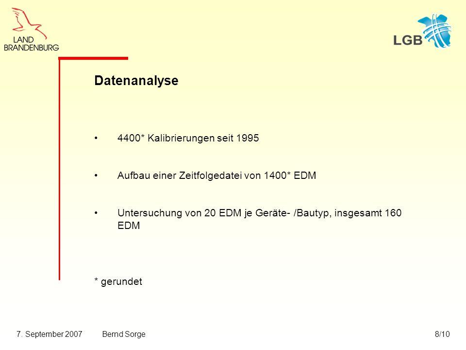 7. September 2007Bernd Sorge8/10 Datenanalyse 4400* Kalibrierungen seit 1995 Aufbau einer Zeitfolgedatei von 1400* EDM Untersuchung von 20 EDM je Gerä