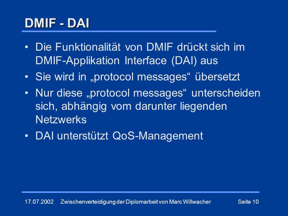 17.07.2002Zwischenverteidigung der Diplomarbeit von Marc WillwacherSeite 10 DMIF - DAI Die Funktionalität von DMIF drückt sich im DMIF-Applikation Int