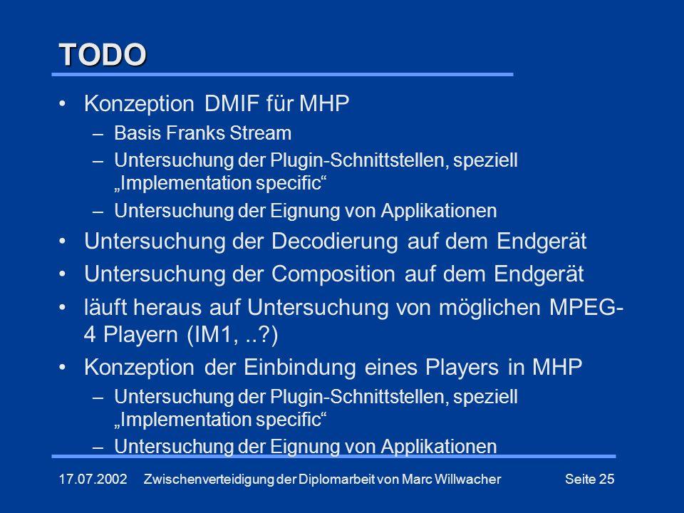 17.07.2002Zwischenverteidigung der Diplomarbeit von Marc WillwacherSeite 25 TODO Konzeption DMIF für MHP –Basis Franks Stream –Untersuchung der Plugin