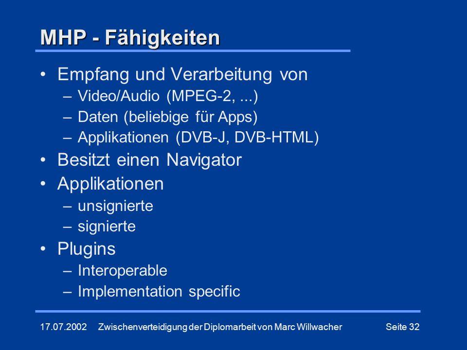 17.07.2002Zwischenverteidigung der Diplomarbeit von Marc WillwacherSeite 32 MHP - Fähigkeiten Empfang und Verarbeitung von –Video/Audio (MPEG-2,...) –