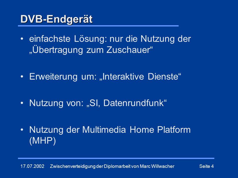 17.07.2002Zwischenverteidigung der Diplomarbeit von Marc WillwacherSeite 4 DVB-Endgerät einfachste Lösung: nur die Nutzung der Übertragung zum Zuschau