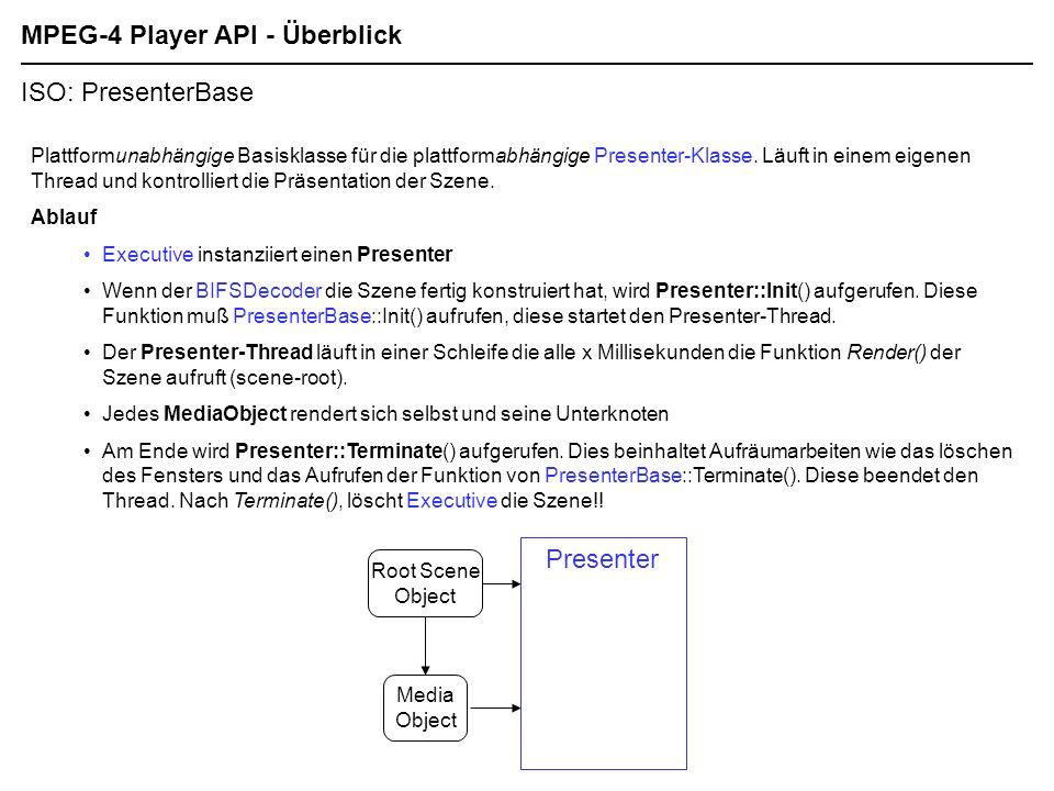 MPEG-4 Player API - Überblick ISO: PresenterBase Plattformunabhängige Basisklasse für die plattformabhängige Presenter-Klasse.