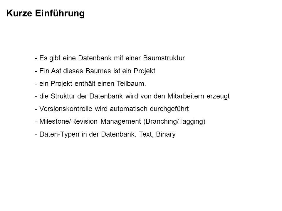 Kurze Einführung - Es gibt eine Datenbank mit einer Baumstruktur - Ein Ast dieses Baumes ist ein Projekt - ein Projekt enthält einen Teilbaum. - die S