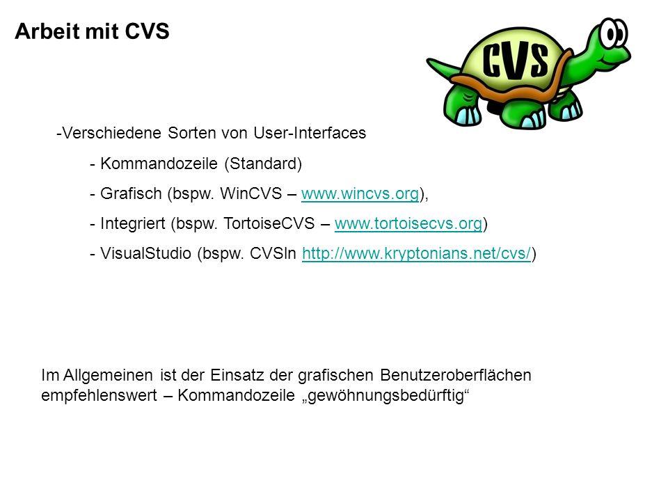 Arbeit mit CVS 1.Erstellen des Projektes in CVS Datenbank -einfaches neu erstellen -Übernahme bestehender Verzeichniss/Projektstrukturen -Übernahme aus anderen Systemen 2.Gruppierung von zusammengehörenden Projekten (Module) 3.Ein- / Auschecken von Dokumenten (Repository, Working Directory, check in/out)