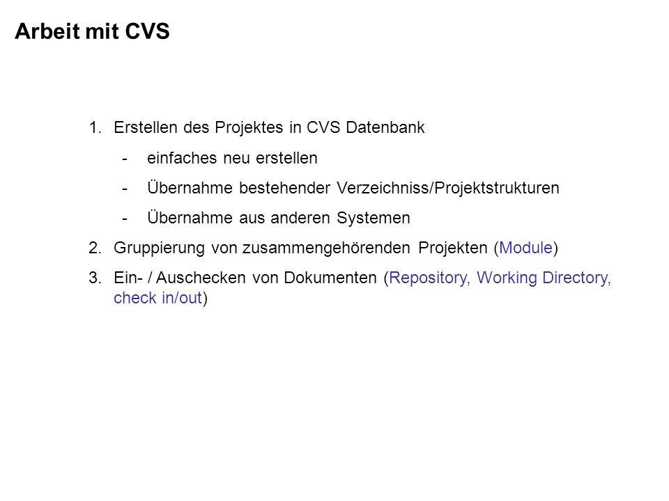 Arbeit mit CVS 1.Erstellen des Projektes in CVS Datenbank -einfaches neu erstellen -Übernahme bestehender Verzeichniss/Projektstrukturen -Übernahme au