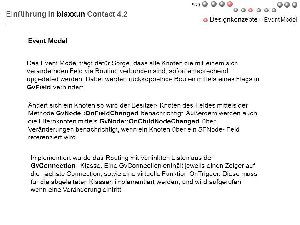 Einführung in blaxxun Contact 4.2 Designkonzepte – Event Model Das Event Model trägt dafür Sorge, dass alle Knoten die mit einem sich verändernden Fel