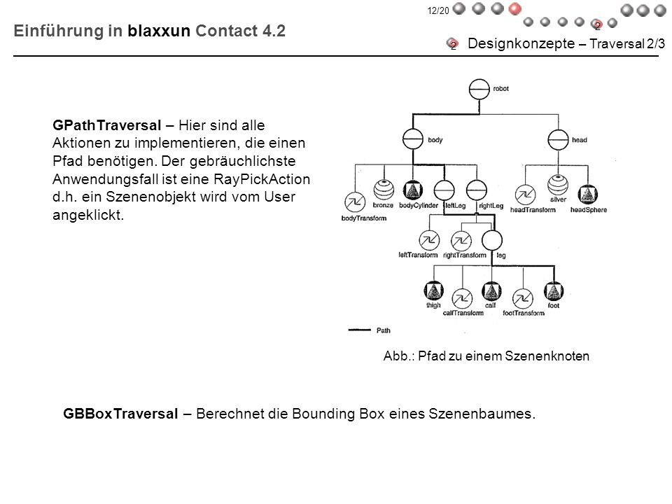 GBBoxTraversal – Berechnet die Bounding Box eines Szenenbaumes. GPathTraversal – Hier sind alle Aktionen zu implementieren, die einen Pfad benötigen.