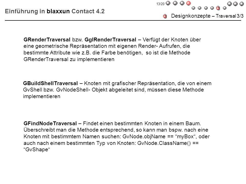 Einführung in blaxxun Contact 4.2 Designkonzepte – Traversal 3/3 GBuildShellTraversal – Knoten mit grafischer Repräsentation, die von einem GvShell bz