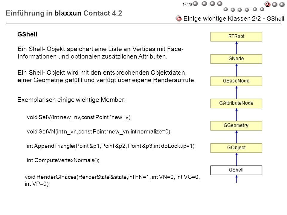 Einführung in blaxxun Contact 4.2 Einige wichtige Klassen 2/2 - GShell Ein Shell- Objekt speichert eine Liste an Vertices mit Face- Informationen und