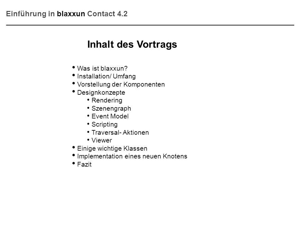 Inhalt des Vortrags Was ist blaxxun? Installation/ Umfang Vorstellung der Komponenten Designkonzepte Rendering Szenengraph Event Model Scripting Trave