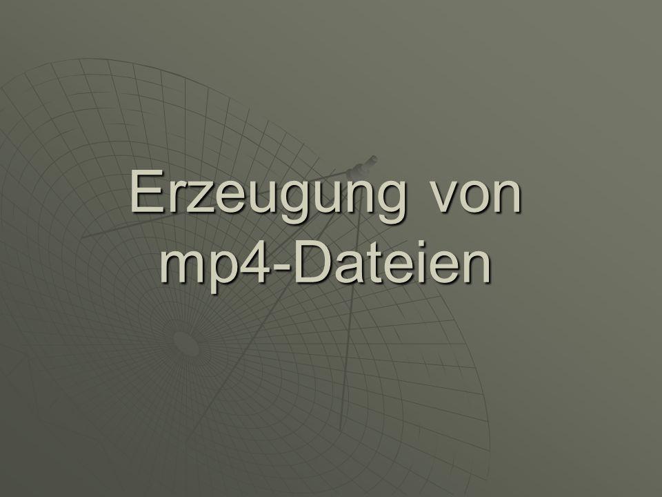 MP4 – Datenformat für MPEG-4 inhaltsorientiert komprimierte Szene inhaltsorientiert komprimierte Szene enthaltene Elemente werden mit jeweils bester Qualität kodiert enthaltene Elemente werden mit jeweils bester Qualität kodiert Übertragung in einem Stream Übertragung in einem Stream Nutzer kann auf einzelne Elemente der Szene zugreifen Nutzer kann auf einzelne Elemente der Szene zugreifen