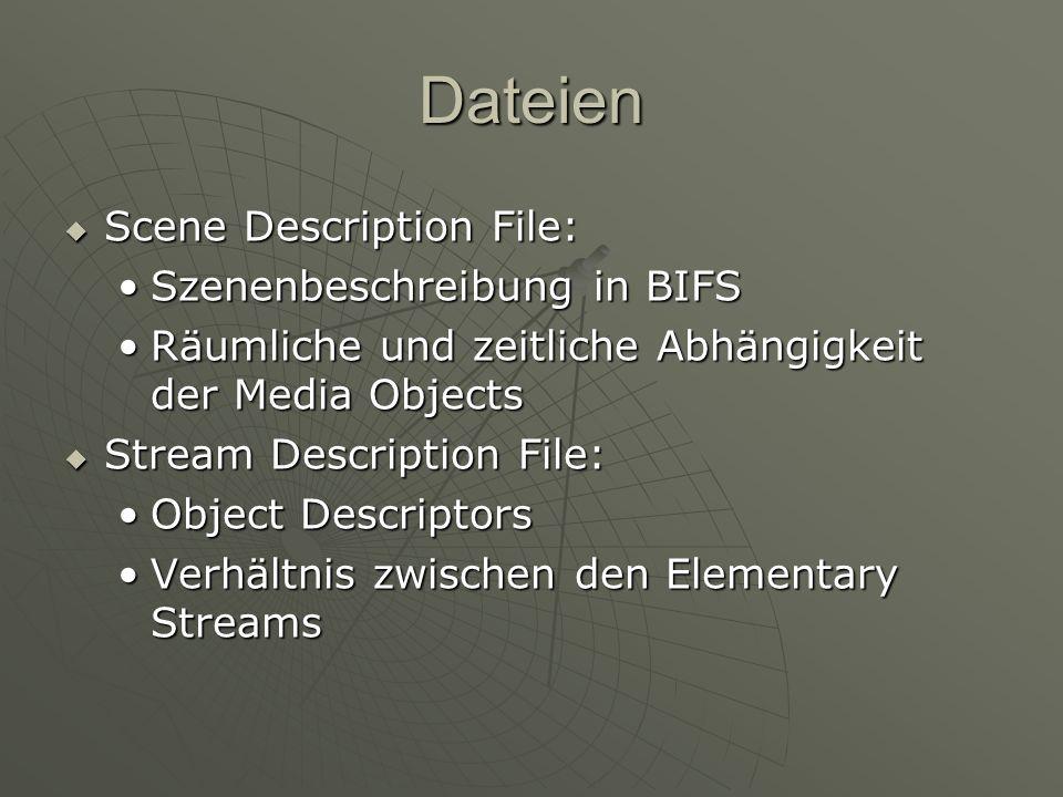 Stream Description ObjectDescriptorID 3 esDescr [ { ES_ID 1 muxInfo { fileName audio.g723 streamFormat G723 } decConfigDescr { streamType 5 ObjectTypeIndication 0x21 bufferSizeDB 500 } slConfigDescr { useTimeStampsFlag TRUE timeStampResolution 1000 timeStampLength 14 } StreamType StreamType ObjectTypeIndication ObjectTypeIndication average bitrate average bitrate BufferSizeDB BufferSizeDB DecSpecificInfo { } DecSpecificInfo { } DecConfigDescr