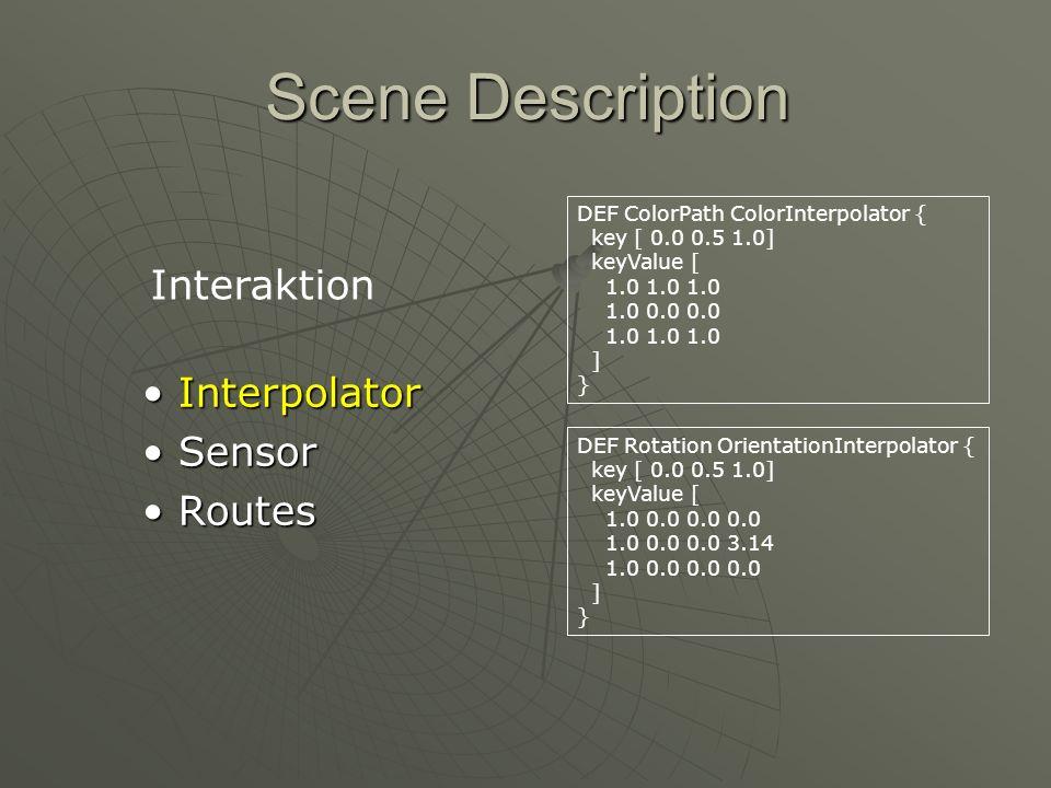 Scene Description Interpolator Interpolator Sensor Sensor Routes Routes DEF Clock TimeSensor { cycleInterval 4.0 loop TRUE } Interaktion DEF Touch TouchSensor { }