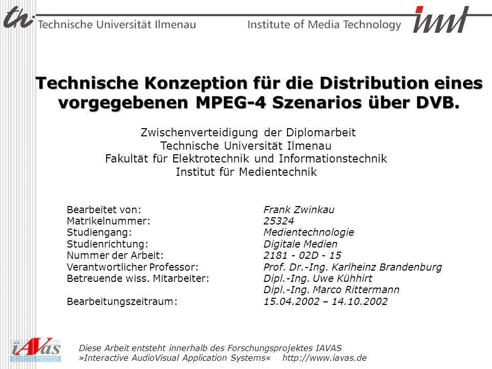 Inhalt Motivation zum Thema Einordnung im MPEG 4 Kontext DVB Datenübertragungskonzepte Übertragungskonzepte für MPEG 4 über DVB DMIF - MHP Zeitplan