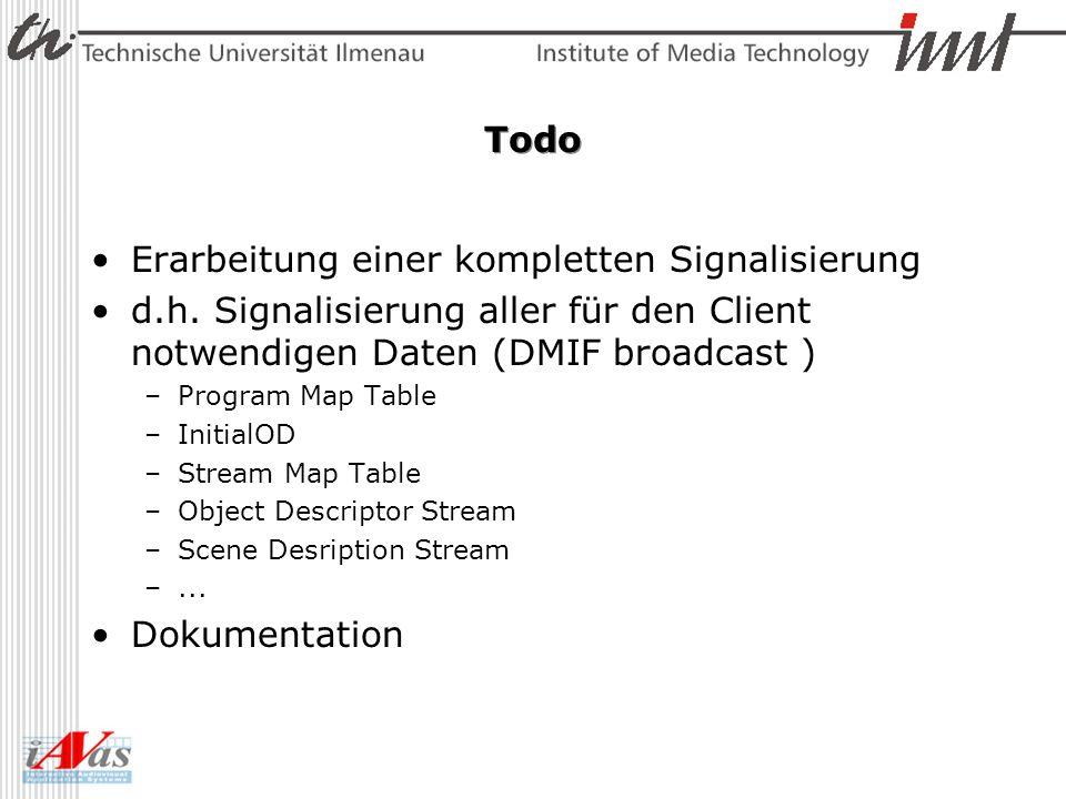Todo Erarbeitung einer kompletten Signalisierung d.h. Signalisierung aller für den Client notwendigen Daten (DMIF broadcast ) –Program Map Table –Init
