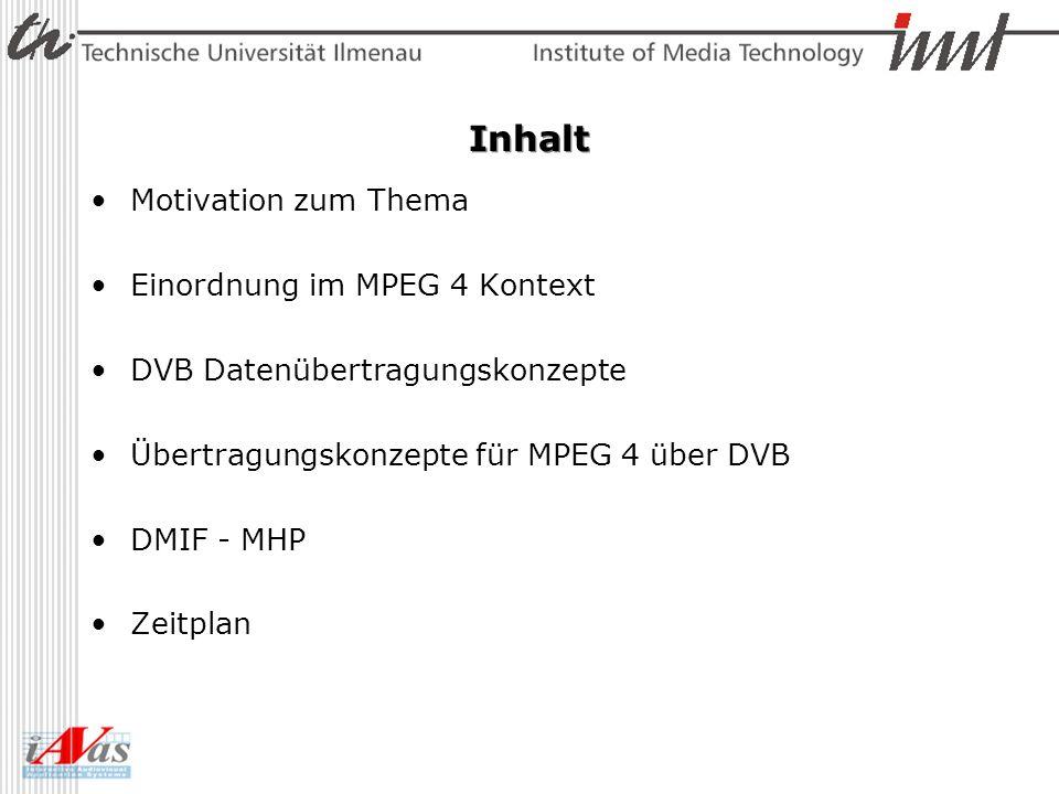 IP Encapsulation IP Encapsulation des DVB Standard Nutzen der Tools aus der IP Distribution –Part 8: 4 on IP Rückkanal notwendig –DMIF Remote