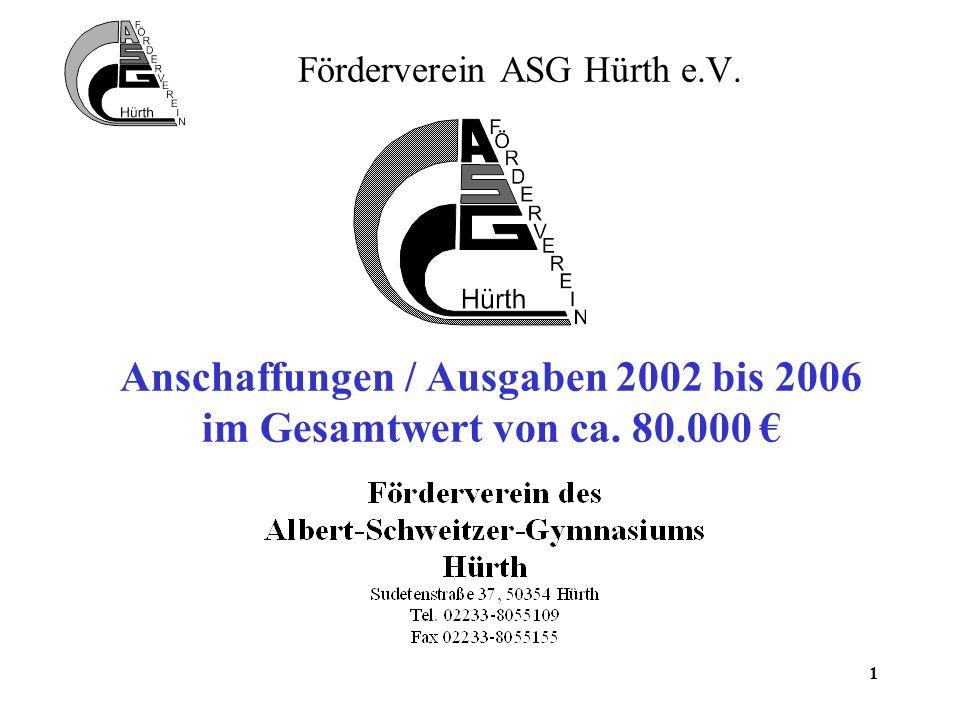 1 Förderverein ASG Hürth e.V. Anschaffungen / Ausgaben 2002 bis 2006 im Gesamtwert von ca. 80.000