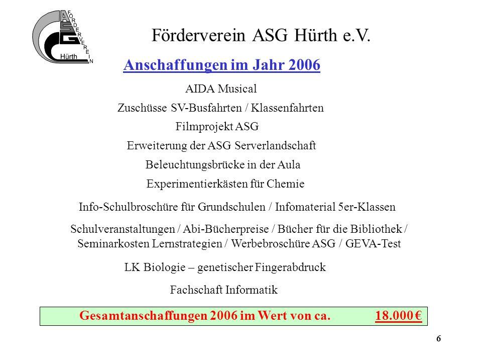 7 Förderverein ASG Hürth e.V. Aktuelle Projekte für 2007