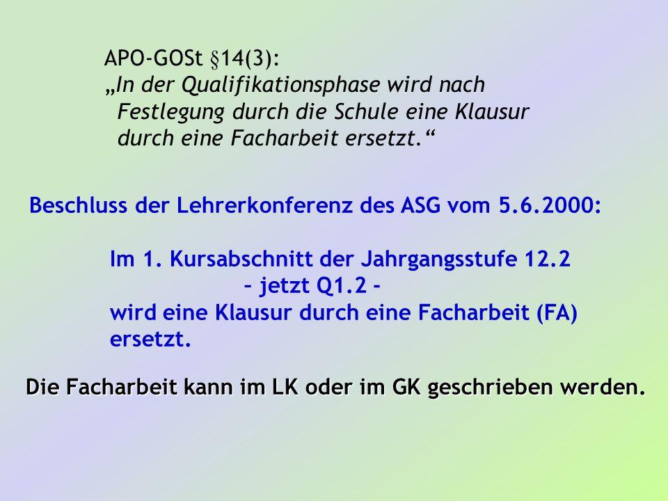 APO-GOSt §14(3): In der Qualifikationsphase wird nach Festlegung durch die Schule eine Klausur durch eine Facharbeit ersetzt. Beschluss der Lehrerkonf