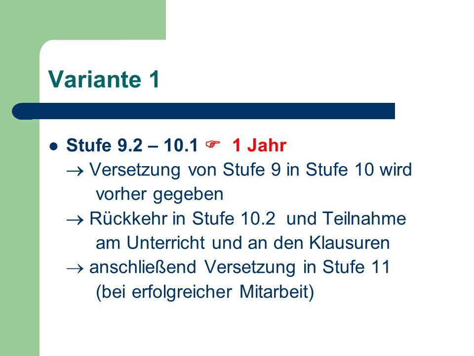 Variante 1 Stufe 9.2 – 10.1 1 Jahr Versetzung von Stufe 9 in Stufe 10 wird vorher gegeben Rückkehr in Stufe 10.2 und Teilnahme am Unterricht und an den Klausuren anschließend Versetzung in Stufe 11 (bei erfolgreicher Mitarbeit)