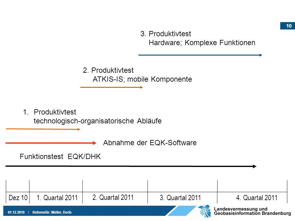 10 01.12.2010Referentin: Müller, Doris Dez 101. Quartal 2011 2. Quartal 2011 3. Quartal 20114. Quartal 2011 Funktionstest EQK/DHK 1.Produktivtest tech