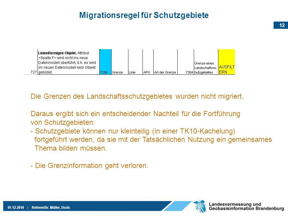 12 01.12.2010Referentin: Müller, Doris Migrationsregel für Schutzgebiete Die Grenzen des Landschaftsschutzgebietes wurden nicht migriert. Daraus ergib