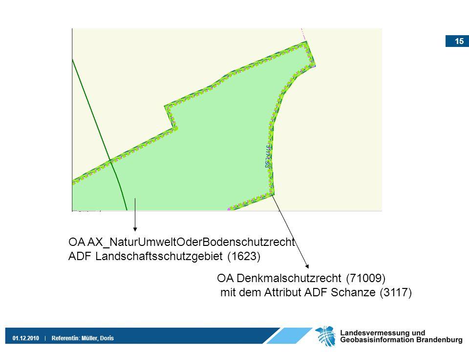 15 01.12.2010Referentin: Müller, Doris OA AX_NaturUmweltOderBodenschutzrecht ADF Landschaftsschutzgebiet (1623) OA Denkmalschutzrecht (71009) mit dem