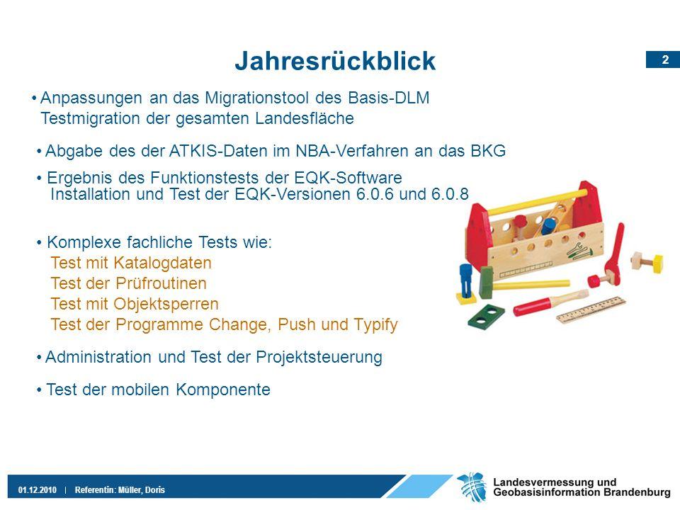 2 01.12.2010Referentin: Müller, Doris Jahresrückblick Komplexe fachliche Tests wie: Test mit Katalogdaten Test der Prüfroutinen Test mit Objektsperren