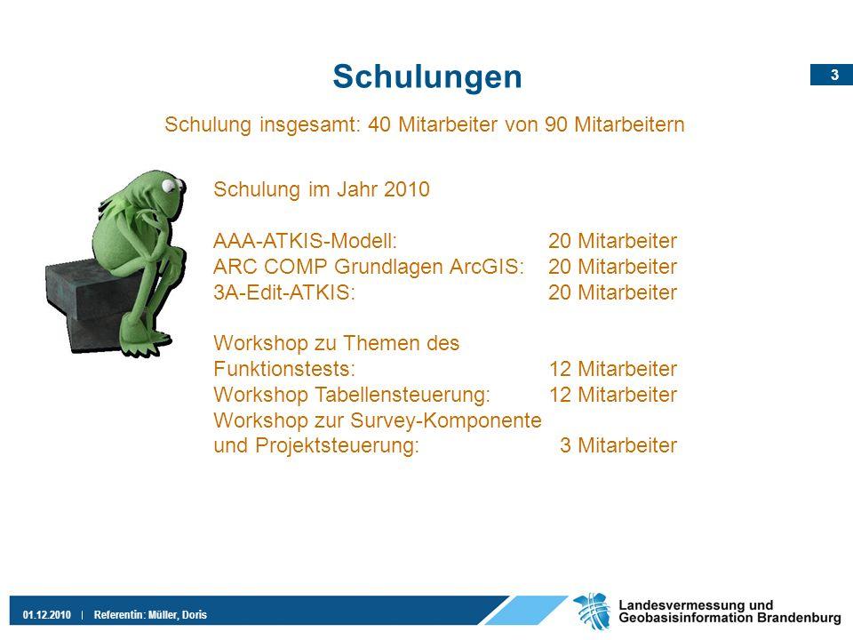 3 01.12.2010Referentin: Müller, Doris Schulungen Schulung im Jahr 2010 AAA-ATKIS-Modell:20 Mitarbeiter ARC COMP Grundlagen ArcGIS:20 Mitarbeiter 3A-Ed